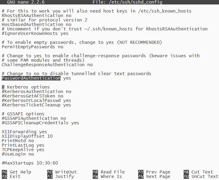 Muestra del contenido del archivo sshd_config