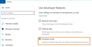 Habilitar DEveloper Mode en Windows 10