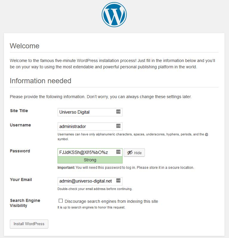 Instalación de WordPress. Configuración de la cuenta de administrador