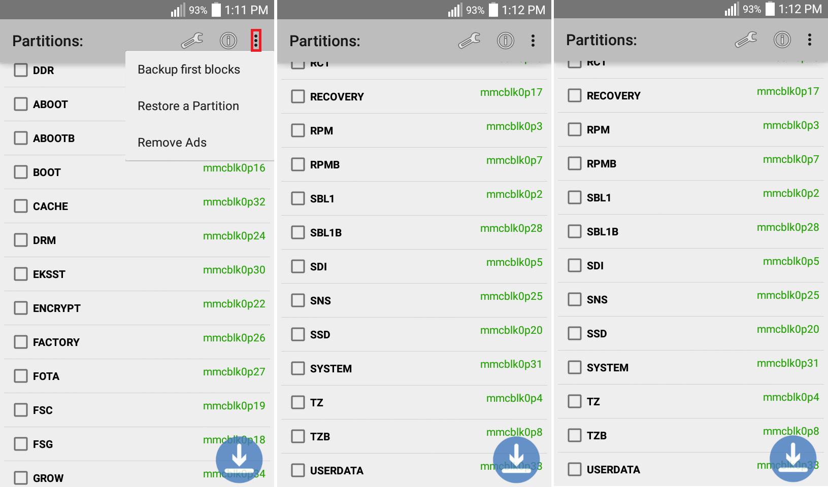 Listado de particiones del sistema Android (LG D415).