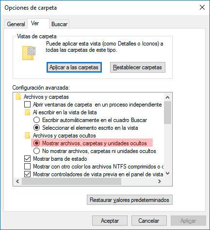 Mostrar archivos ocultos windows