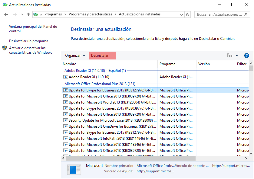 Desinstalando actualización de Windows 10
