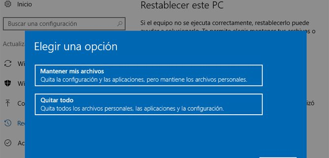 Restablecer este PC opciones Windows 10