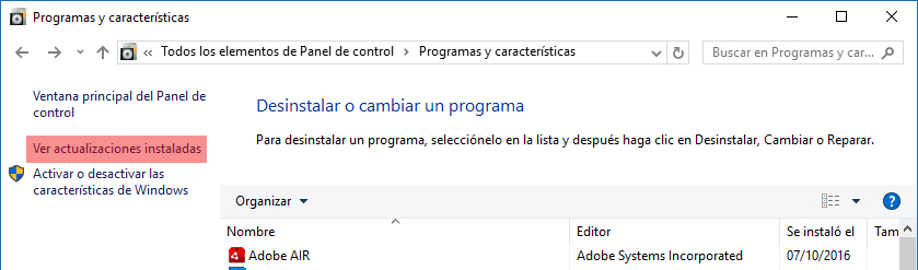 Ver actualizaciones instaladas Windows 10