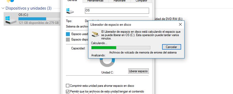 Liberador de espacio en disco Windows 10