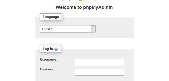 Página de inicio phpMyAdmin
