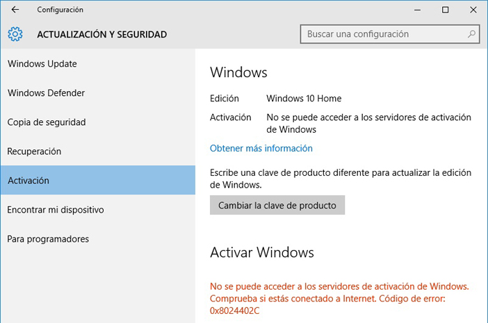 Alerta de activación en Windows 10