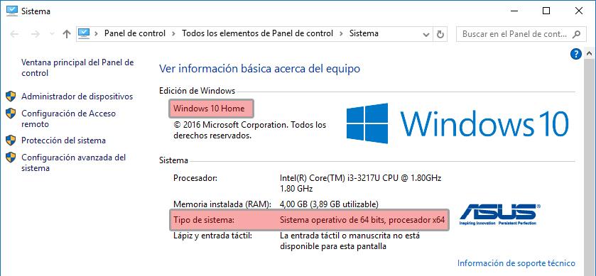 Windows10 - Propiedades este equipo