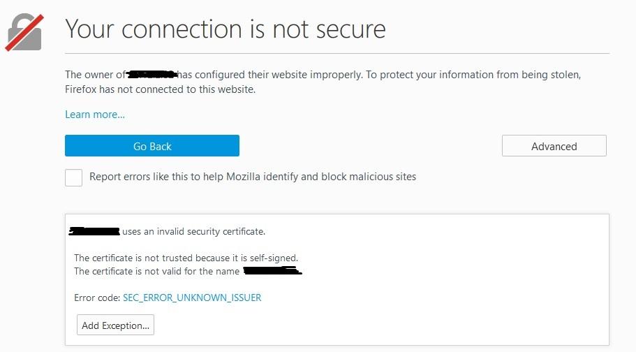 phpMyAdmin certificado autofirmado error de autenticidad