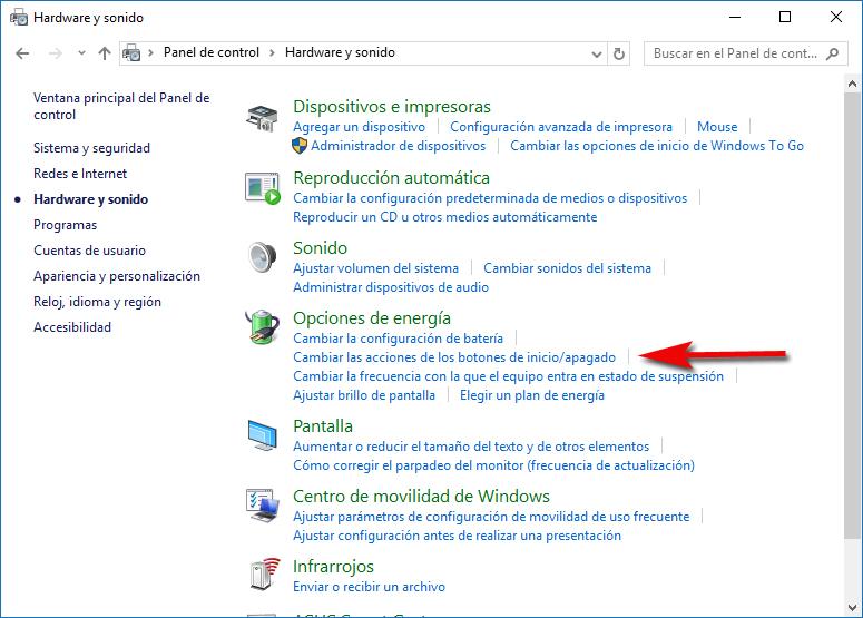 Cambiar acciones botón inicio apagado Windows 10