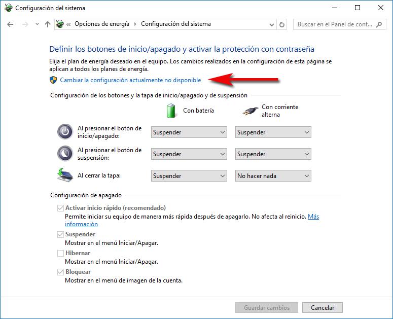 Cambiar configuración actualmente no disponible - Windows 10