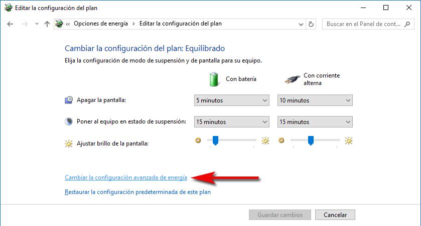 Cambiar configuración avanzada de energía Windows 10