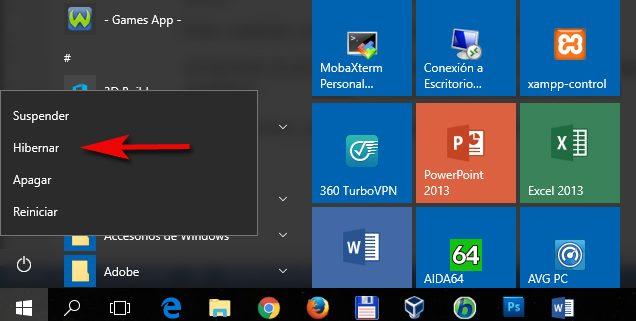 Suspender Hibernar Windows 10