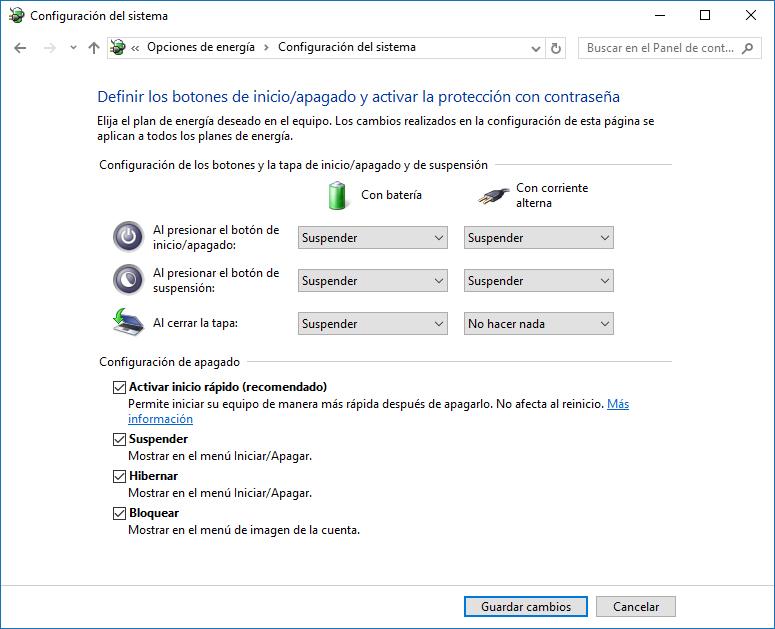 Mostrar opción hibernar menú Inicio Windows 10