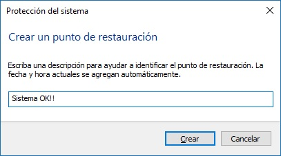 Punto de restauración manual - Windows 10