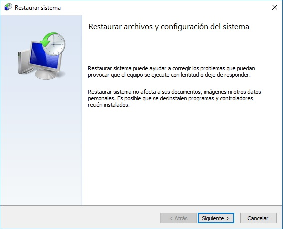 Restaurar sistema paso 1 - Windows 10