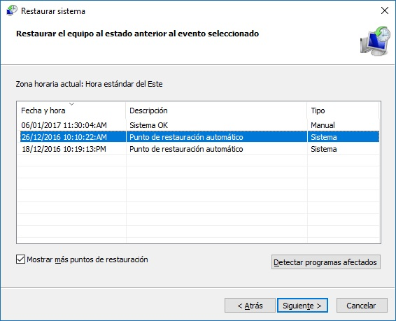 Restaurar sistema paso 2 - Windows 10