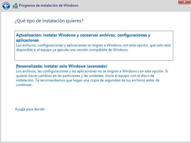 Selección del tipo de instalación en Windows 10