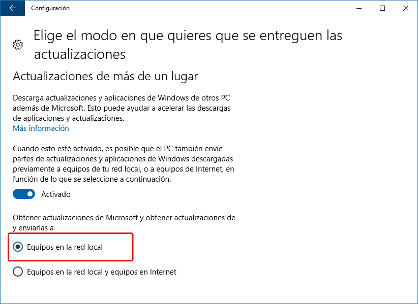 Configuración de actualizaciones peer-to-peer - Windows 10