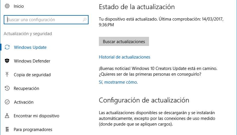 Actualizaciones automáticas Windows 10