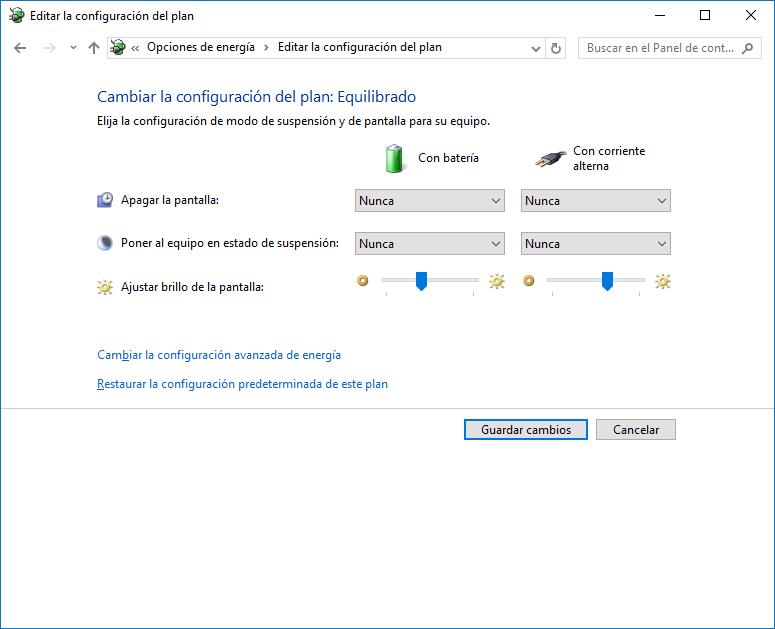 Cambiar configuración del plan energía - Windows 10