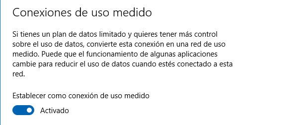 Conexión de uso medido - Windows 10