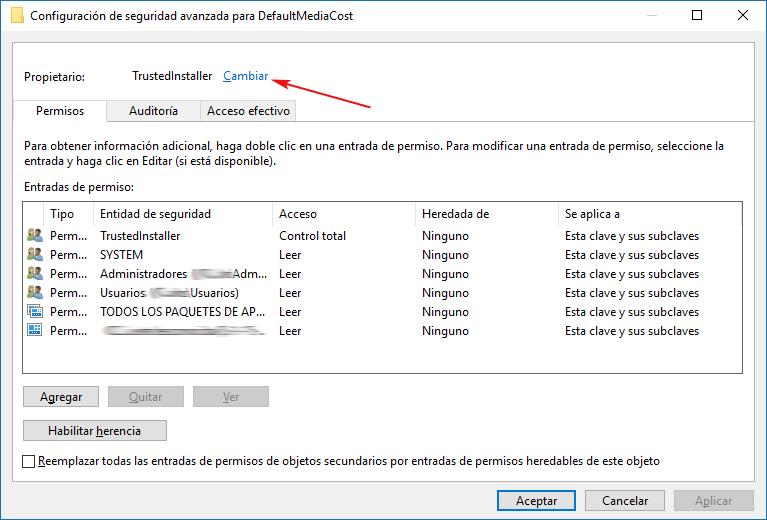 Configuración avanzada clave de registro protegida Windows 10