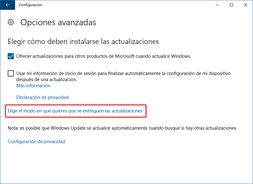 Configuración de entrega de actualizaciones Windows Update - Windows 10