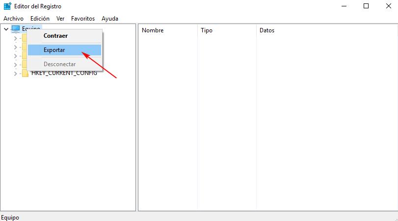 Exportando el registro completo - Windows 10