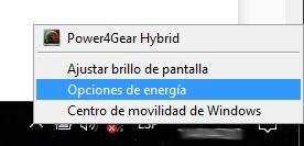 Opciones de energia barra de tareas Windows10
