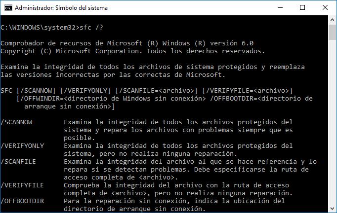 Reparar archivos corruptos - Windows 10