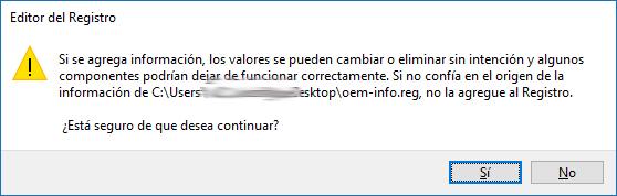 Restaurando sección del registro - Windows 10