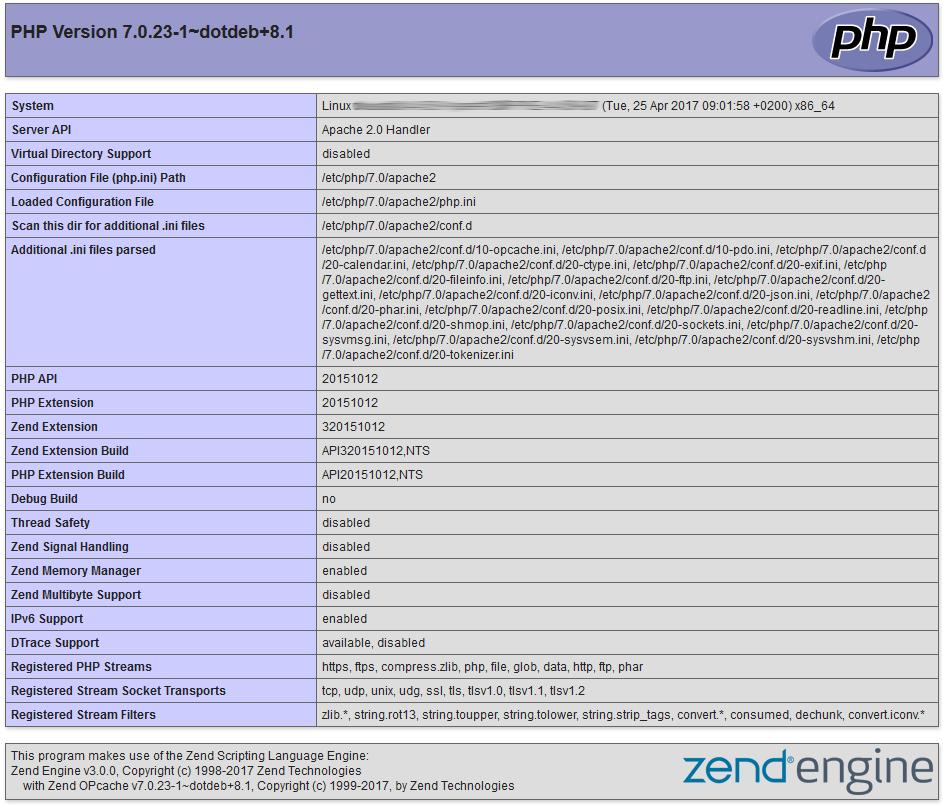 Función phpinfo P?HP7 + Debain 8 Jessie