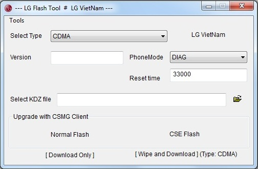 LG Flash Tool 2015 - Ventana incial