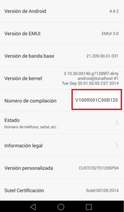Actualizar Huawei - Validación