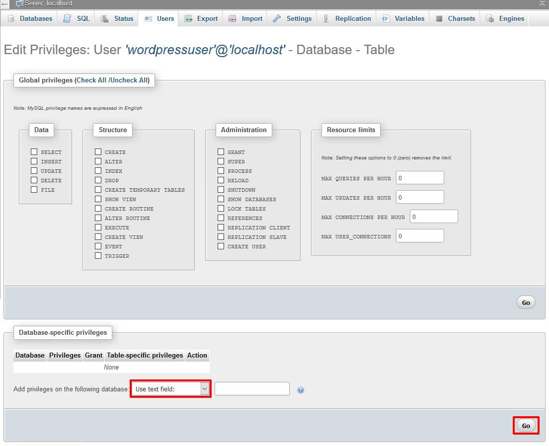 Como Establecer los privilegios del usuario en una base de datos especifica