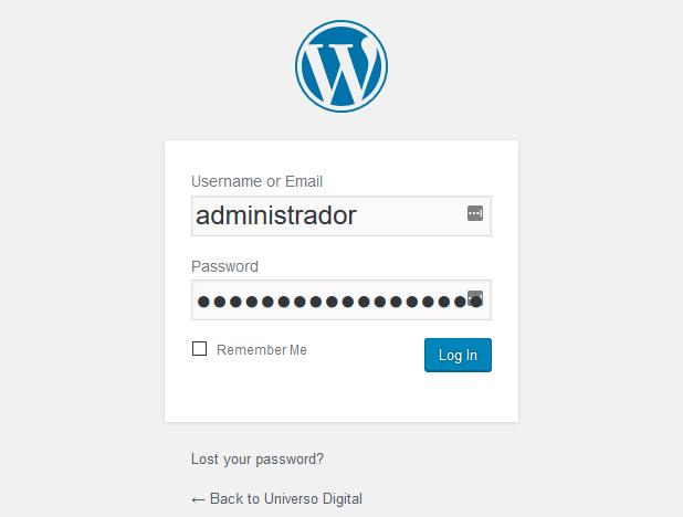 Pagina de inicio de sesión en WordPress