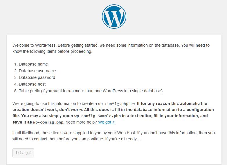 Pagina inicial de la instalación de WordPress