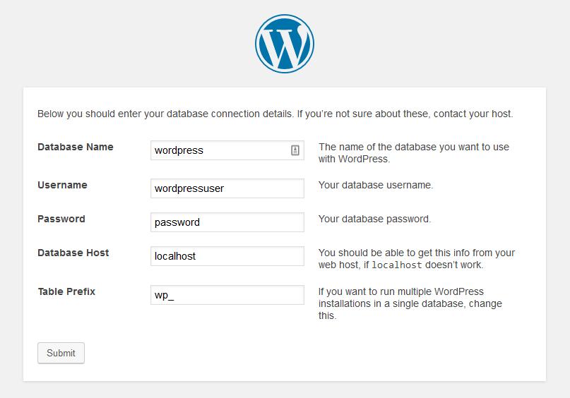Instalación de WordPress. Configuración del acceso a la base de datos
