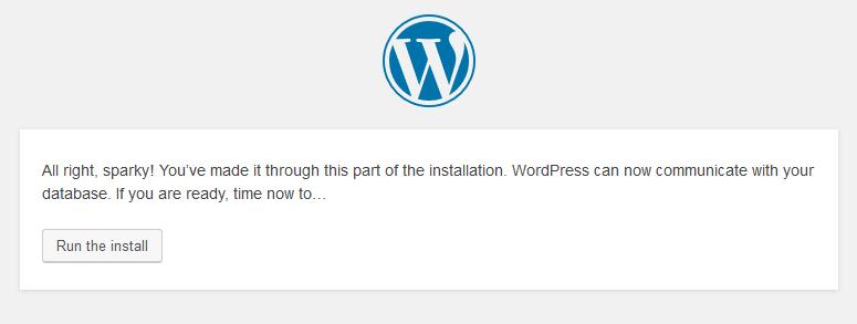 Instalación de WordPress. Configuración exitosa.