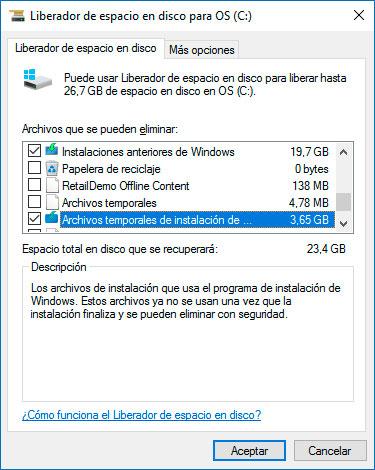Liberador de espacio en disco - Selección de los archivos a borrar