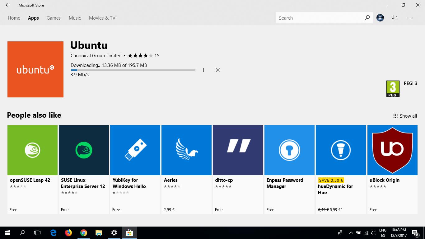Instalando Ubuntu Bash desde Microsoft Store
