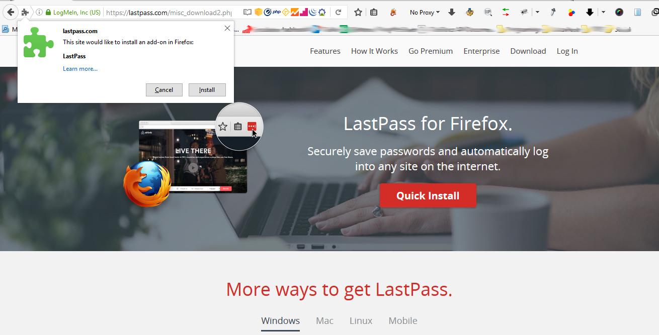 Instalación de LastPass en firefox