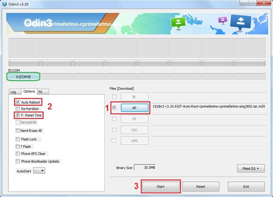 Configuración de Odin v3.10.6