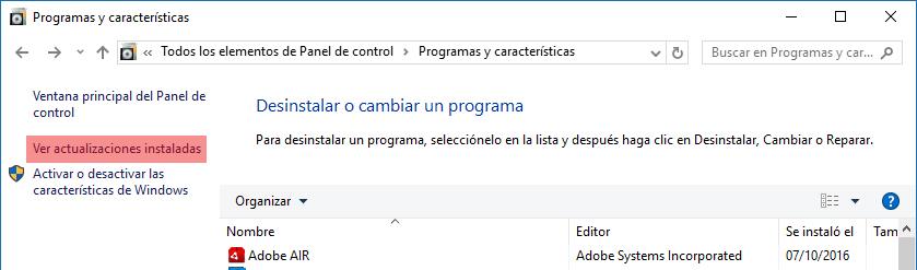 Ver actualizaciones instaladas Windows 10