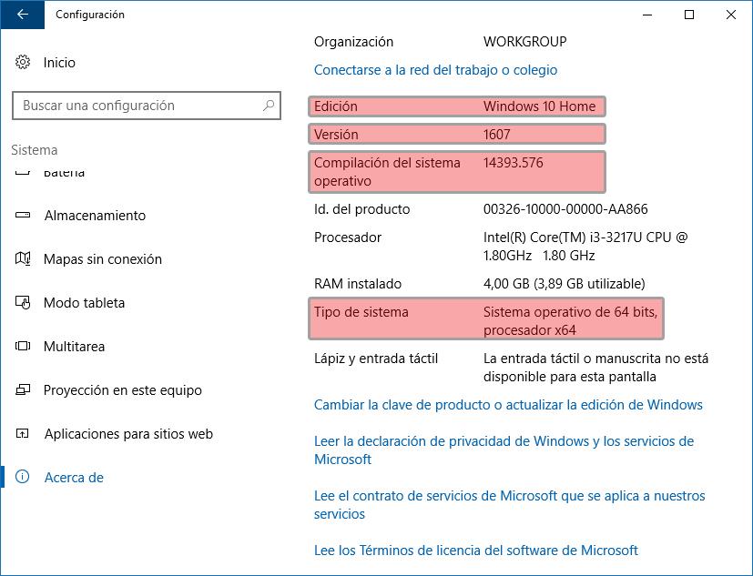 Windows 10 - Acerca de