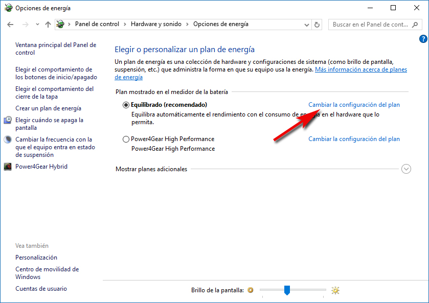 Cambiar configuración del plan energía - Windows 10