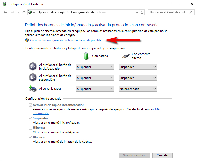 Cambiar configuración actualmente no disponible - Windows 10