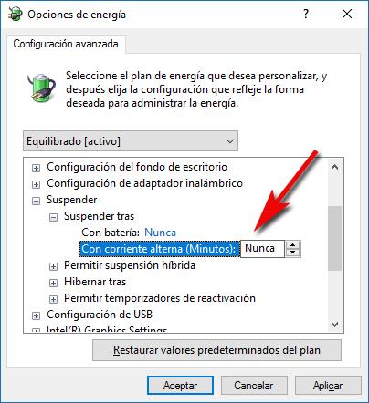 Desactivar suspensión - Windows 10