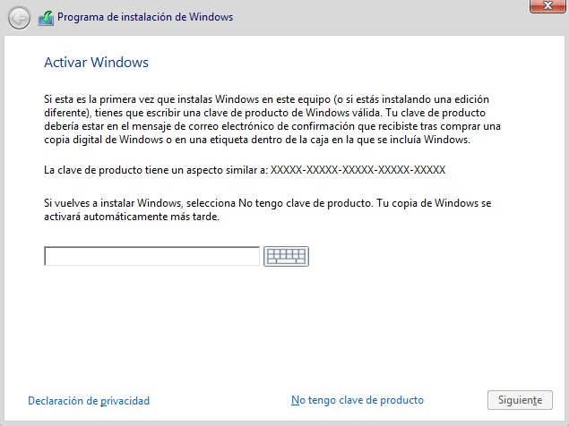 Ventana de activación de Windows 10